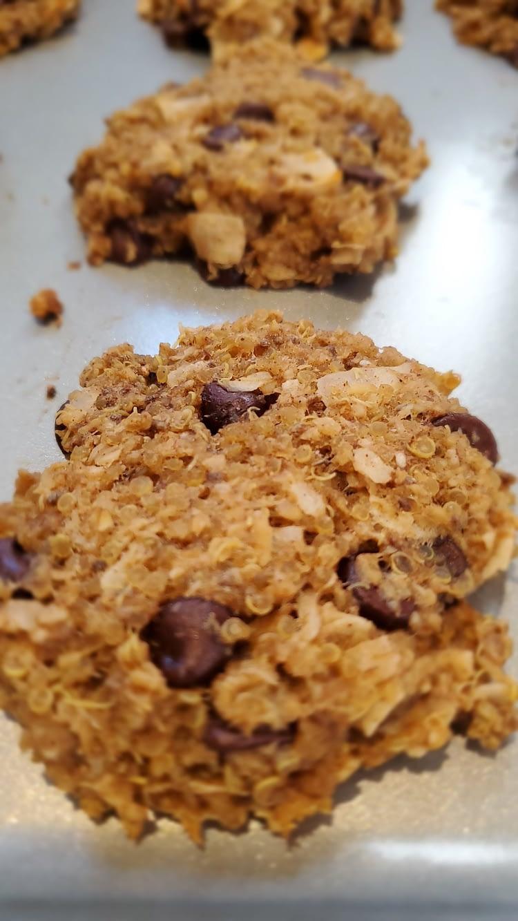 quinoa banana gluten reduced chocolate chip cookie