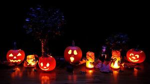 halloween decorations and pumpkins