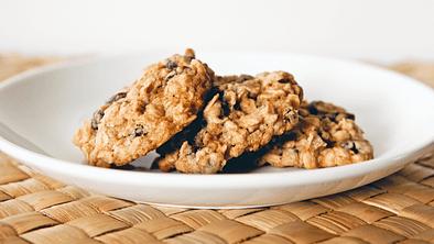 Plate of healthy oatmeal cookies